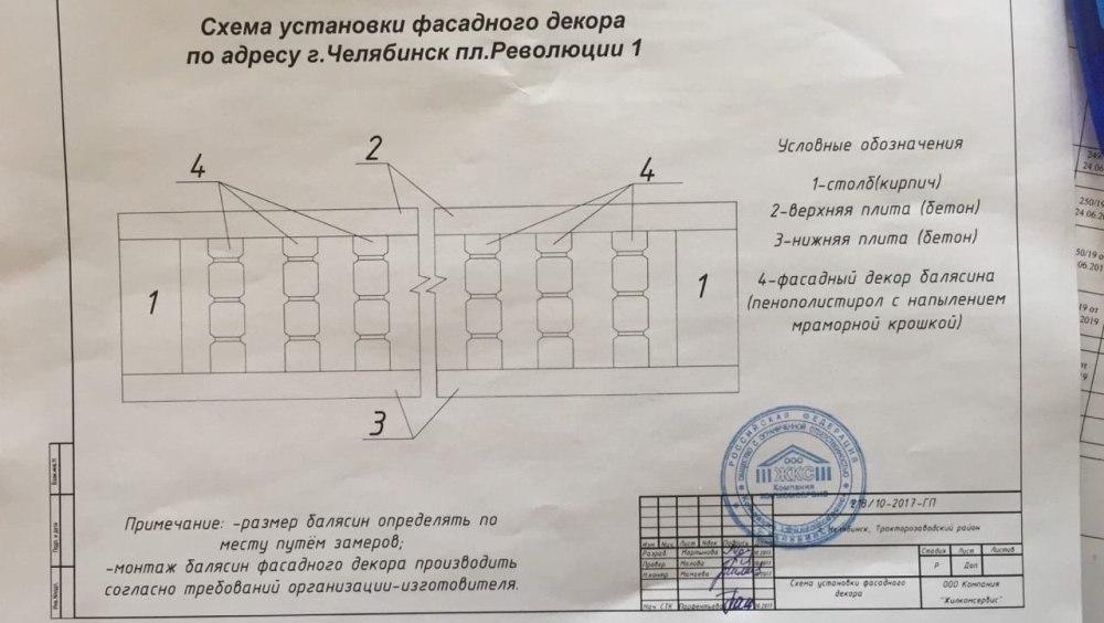 Схема установки нового декоративного парапета.