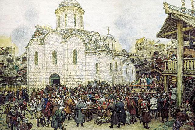 А. М. Васнецов. «Оборона Москвы от хана Тохтамыша. XIV век». 1918 г.