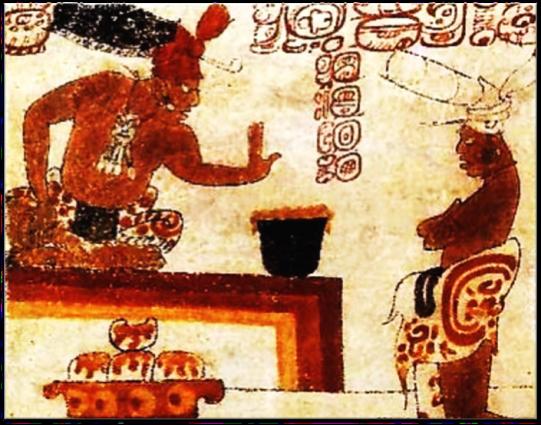 Жрец майя запрещает простолюдину дотрагиваться до напитка из какао/