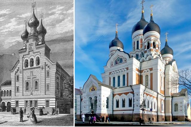 Церковь благоверного князя Александра Невского в Копенгагене (слева) и Александро-Невский собор в Таллине.