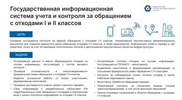Целью проекта является создание инструмента контроля за сферой обращения с отходами I-II классов.