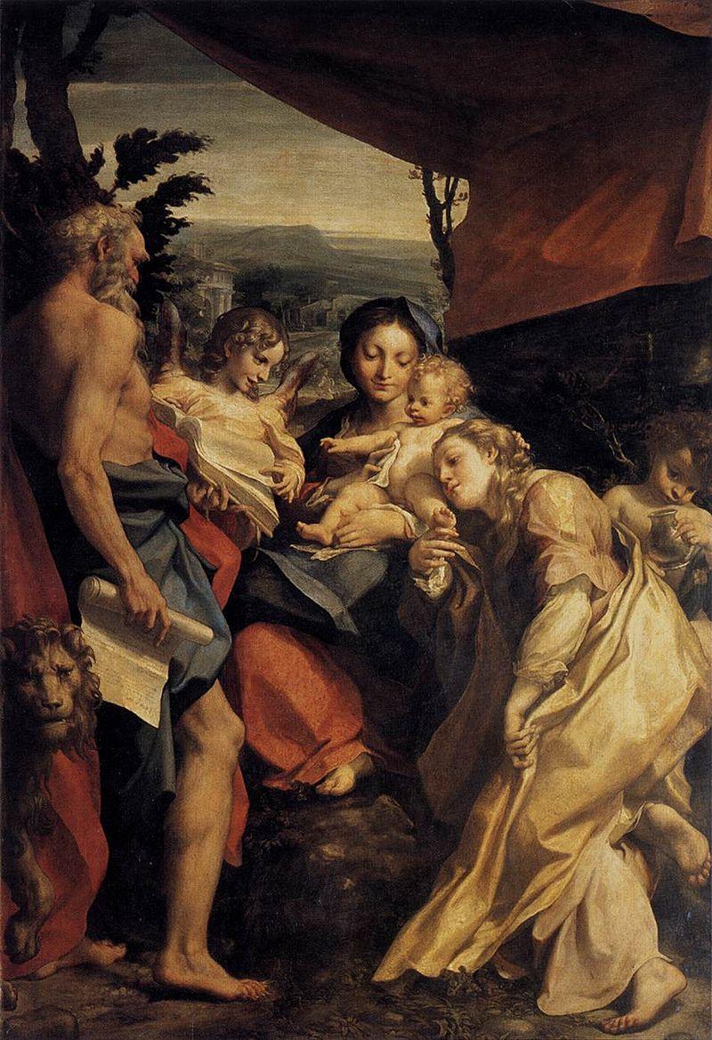 Антонио да Корреджо. Мадонна со своим Джироламо и Марией Магдалиной.