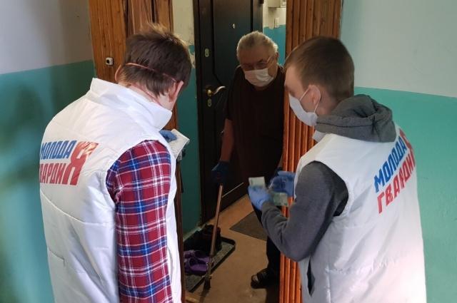 пенсионеры встречают волонтёров в маске.