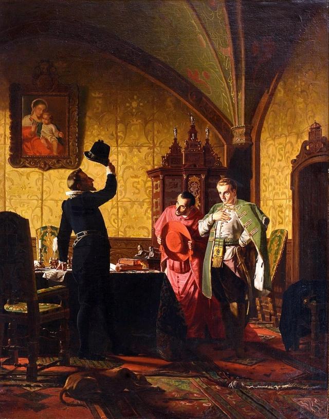 Присяга Лжедмитрия I польскому королю Сигизмунду III на введение в России католицизма. 1874 г., Н. Неврев.