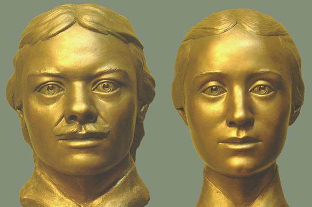 Супруги Прончищевы. Скульптурная реконструкция С. А. Никитина