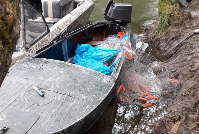 Браконьеры, лодка, рыболовные сети