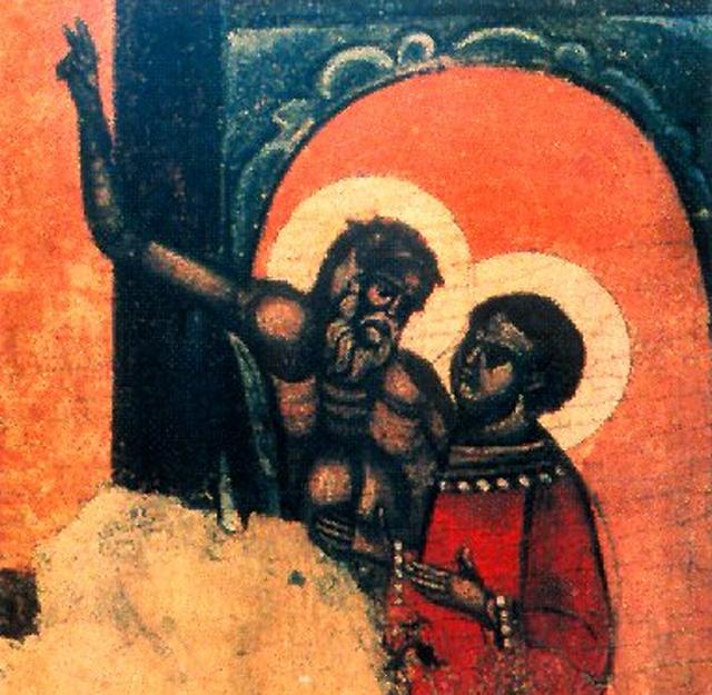 Деталь иконы XVIIв. Покров Пресвятой Богородицы . Псков