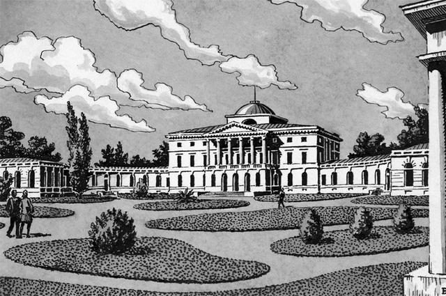 Графическая реконструкция дворца выполнена архитектором В.Городковым.