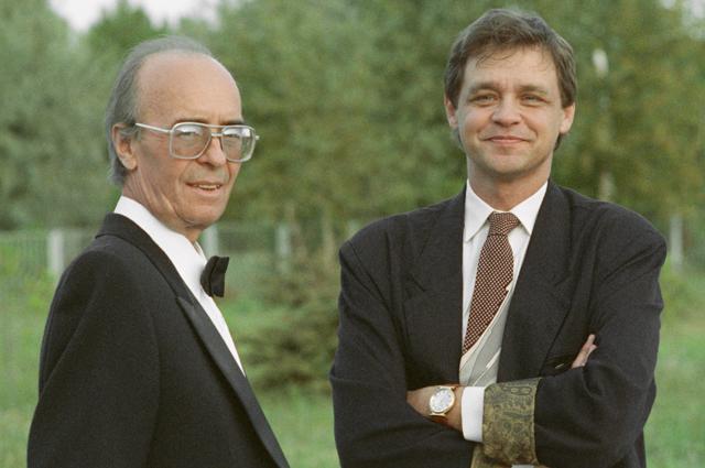 Олег Борисов с сыном, кинорежиссером Юрием Борисовым. 1993 год.