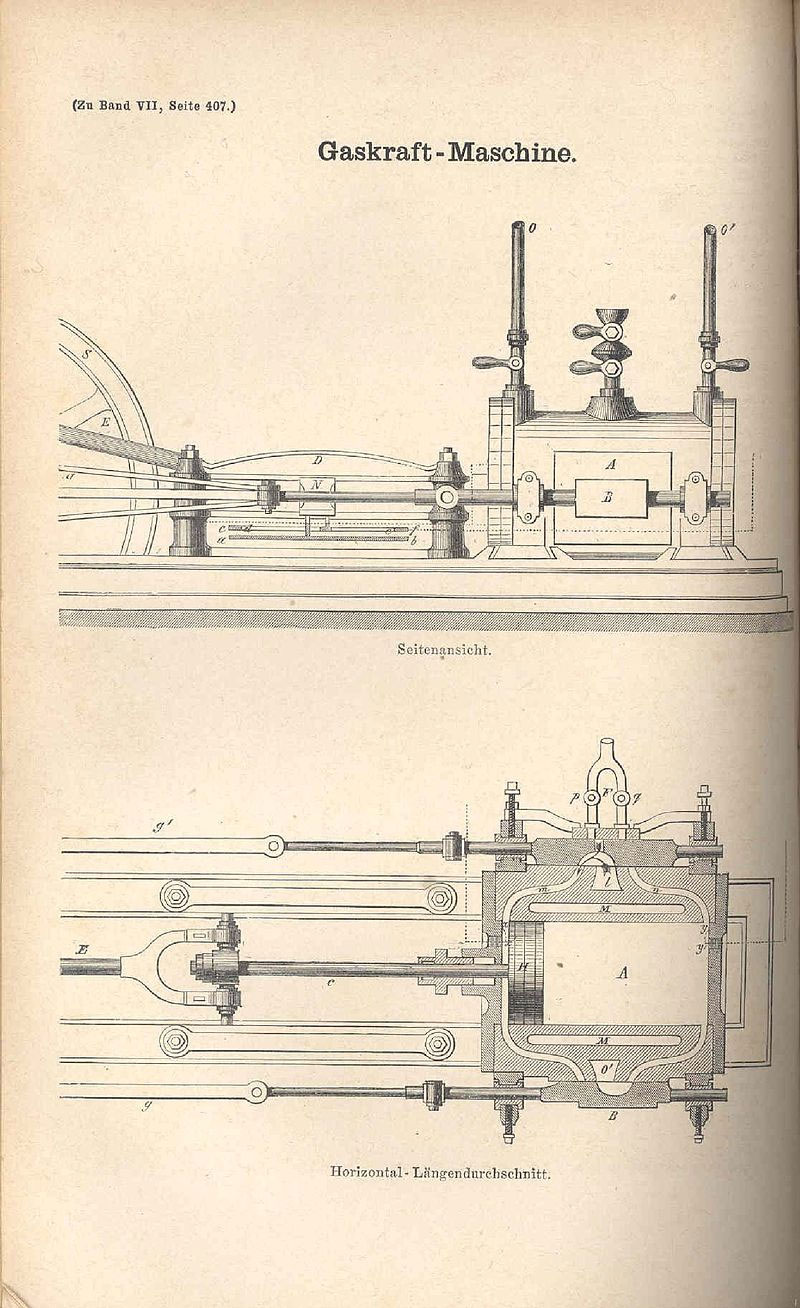 Двигатель Ленуара в двух проекциях.