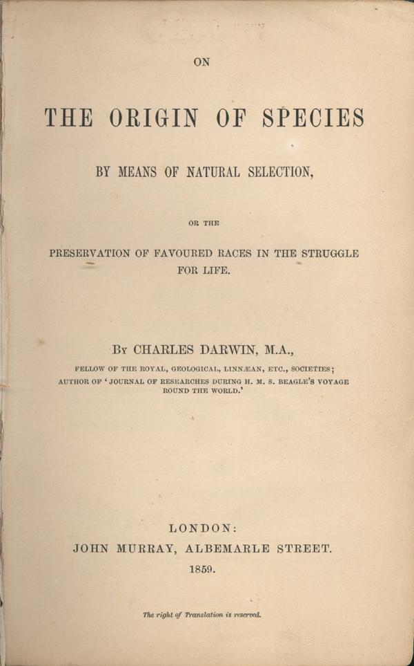 Обложка книги «Происхождение видов путём естественного отбора, или Сохранение благоприятных рас в борьбе за жизнь».