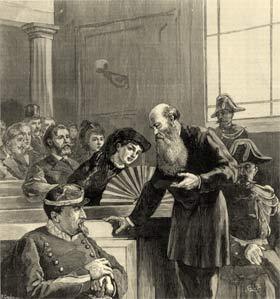 Пётр Кропоткин на Лионском процессе, в результате которого он был приговорён к 5 годам тюрьмы. 1883 г.