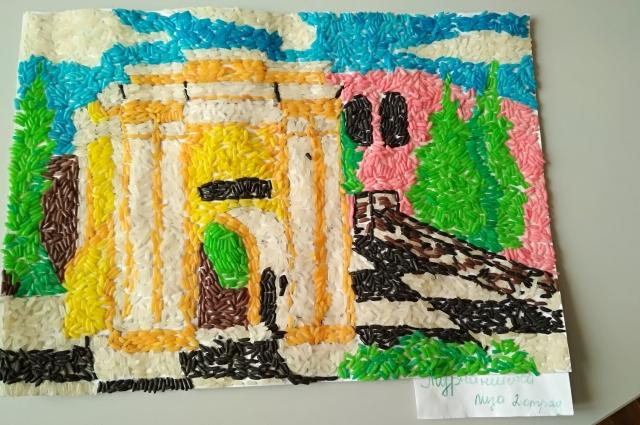 Тарские ворота. Аппликация из цветного риса. Автор: Лиза Турчанинова.