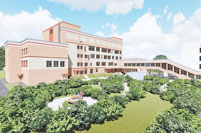 Макет будущей дворовой территории одного из новых корпусов школы-интерната.
