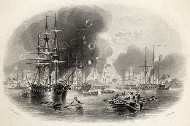 Первая опиумная война. Британский флот обстреливает Кантон.