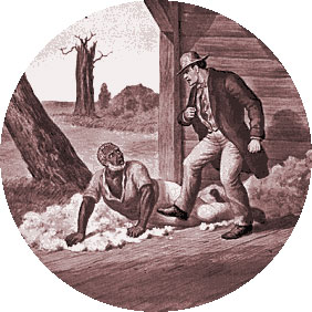 Легри избивает дядюшку Тома. Иллюстрация к роману Хижина дяди Тома . 1885 год