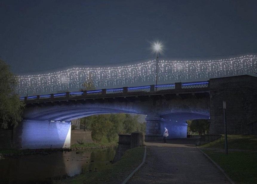 Новогодний Псков -мост