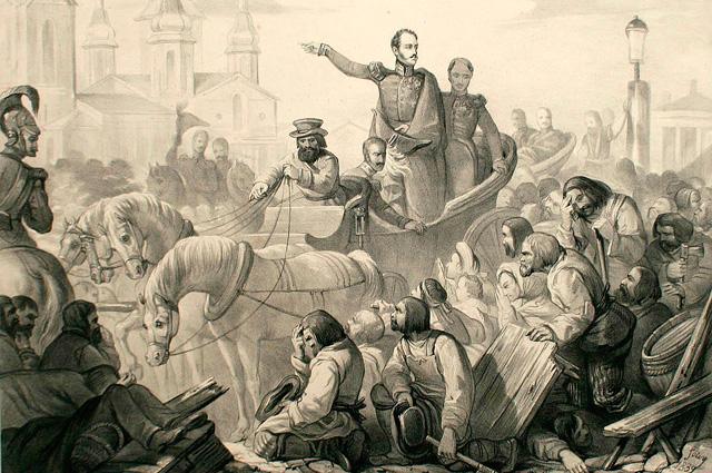 Император Николай I своим присутствием усмиряет холерный бунт в Санкт-Петербурге в 1831 году. Литография из французского периодического издания Album Cosmopolite. Датирована 1839 годом