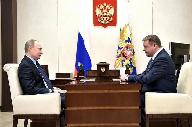 Николай Любимов на встрече с Президентом России Владимиром Путиным.