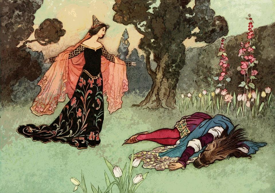 В сказке мадам де Вильнёв снять проклятие с принца могла только брачная ночь с Бэлль.