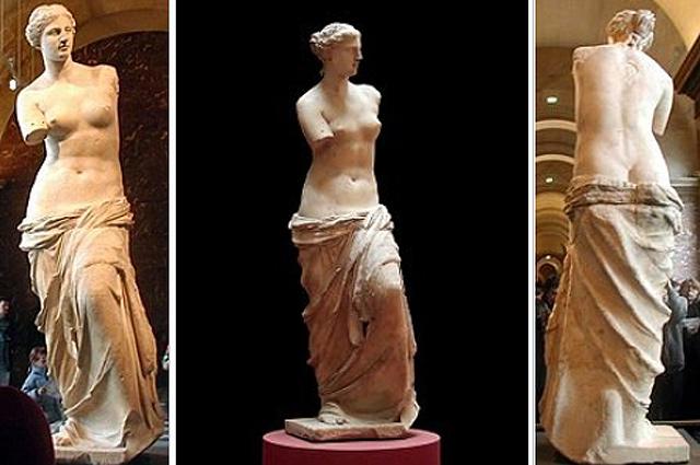 Венера Милосская. Вид спереди, вид третьей четверти, вид сзади