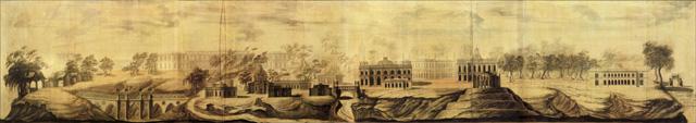 Василий Баженов. Вид Царицына села . Проектный чертёж. 1776 г