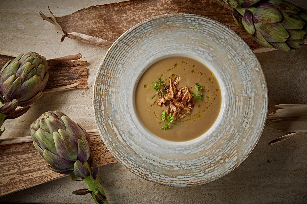 Суп из артишоков и баклажанов