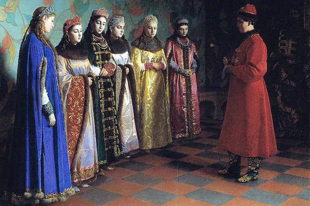 Репродукция картины Г. Седова «Выбор невесты царём Алексеем Михайловичем». 1882