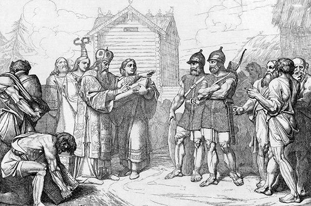 Прибытие в Киев епископа. Гравюра Ф. А. Бруни, 1839 г.