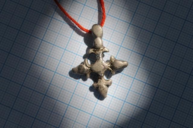 Крестик нательный, металлический (серебро с позолотой)