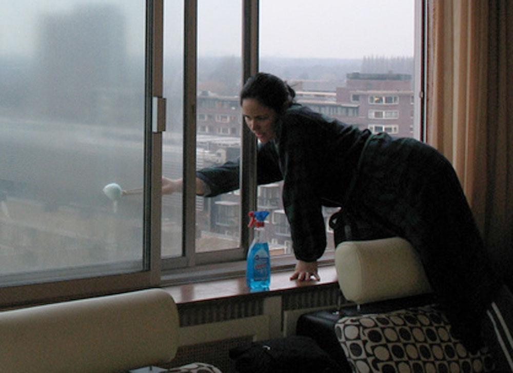 Щетками и тряпками вам никто окно мыть не будет.