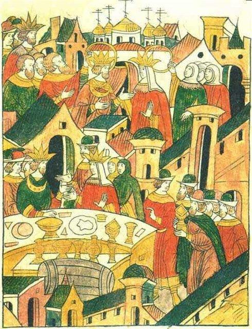 Иван Грозный на свадьбе Симеона Бекбулатовича (миниатюра Лицевого летописного свода)