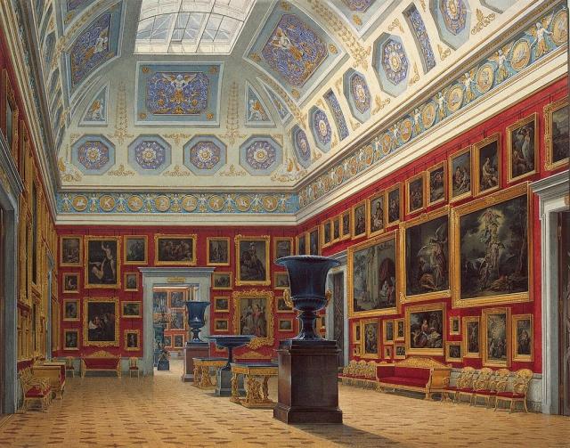 Интерьер Нового Эрмитажа на акварели Э. Гау (1856).