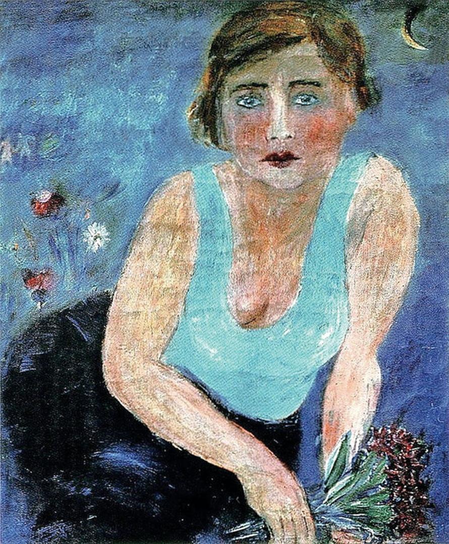 М.Л. Гуревич (1904-1943). Девушка в синем (Портрет физкультурницы с цветком). 1929 г. Холст, масло. 61,4 х 53,2 см.