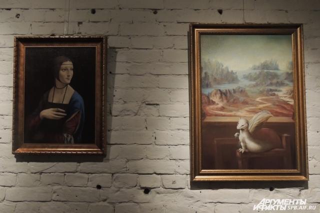 Горностай перебрался к Моне Лизе, а она сама ушла с картины.