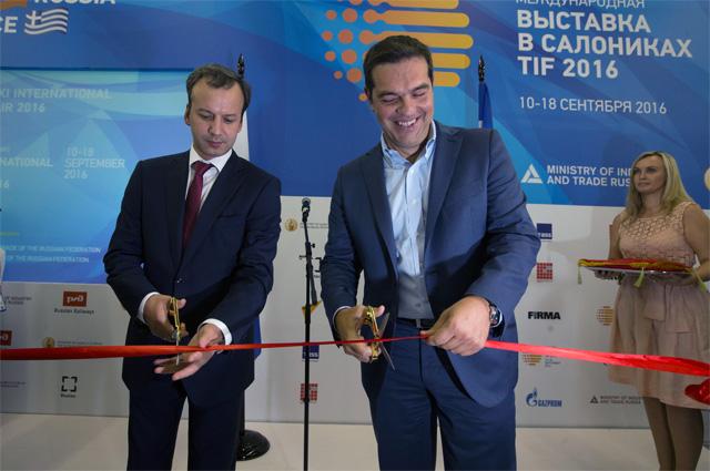 Вице-премьер Аркадий Дворкович и премьер-министр Греции Алексис Ципрас открывали выставку.