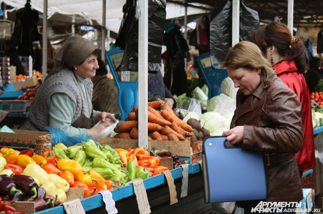 Овощной рынок в Майкопе.