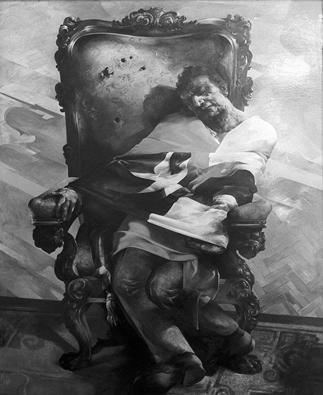 Репродукция картины «Убитый президент Чили, доктор Сальвадор Альенде». Работа художника Кристофа Ветцеля.