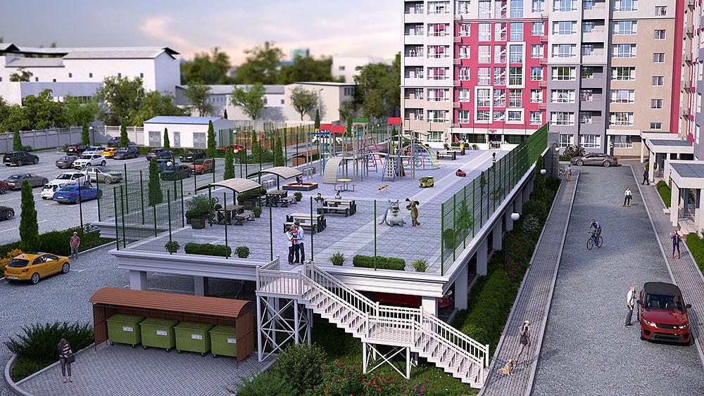 ЖК «Гармония», детская площадка на крыше парковки