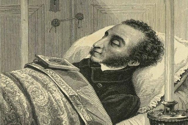 Лермонтов писал свои знаменитые строки о Пушкине, когда умирал в своей постели.
