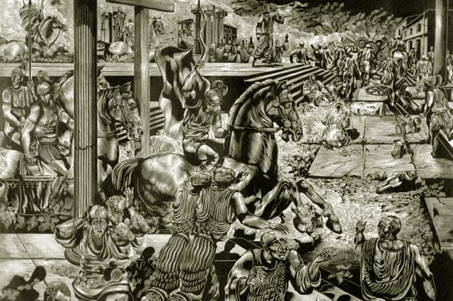 Репродукция иллюстрации к роману Михаила Булгакова Мастер и Маргарита работы художника В. Бегиджанова. Гравюра на дереве. 1980 год