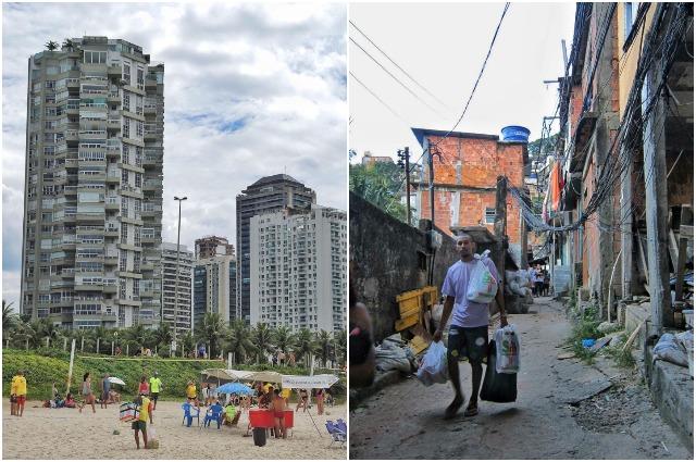 Пропасть между богатыми и бедными в этой стране огромная: слева - дома для богатых, справа - фавеллы.