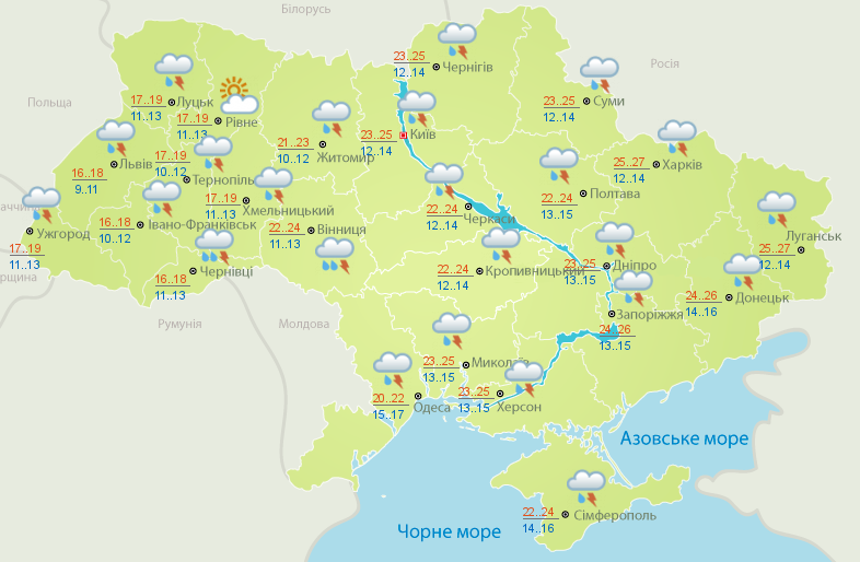 Прогноз погоды на 14 июня.
