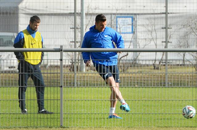 Сергей Семак (слева) во время тренировки