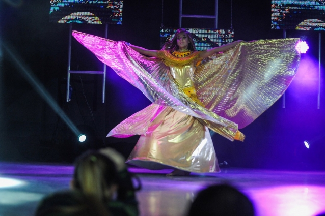 Фантастическая птица парила по сцене