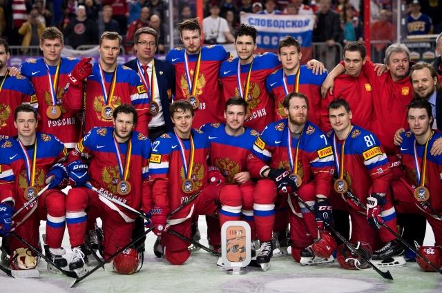 Сборная России с бронзовыми медалями чемпионата мира.