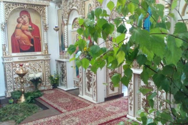 Один из главных символов праздника - ветви берёзы.