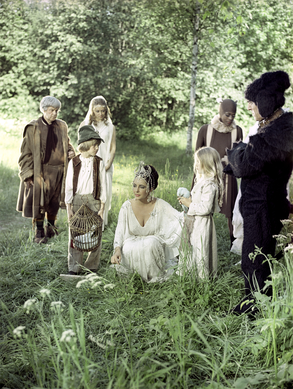 Советские и американские актеры в фильме «Синяя Птица». 1975 год.