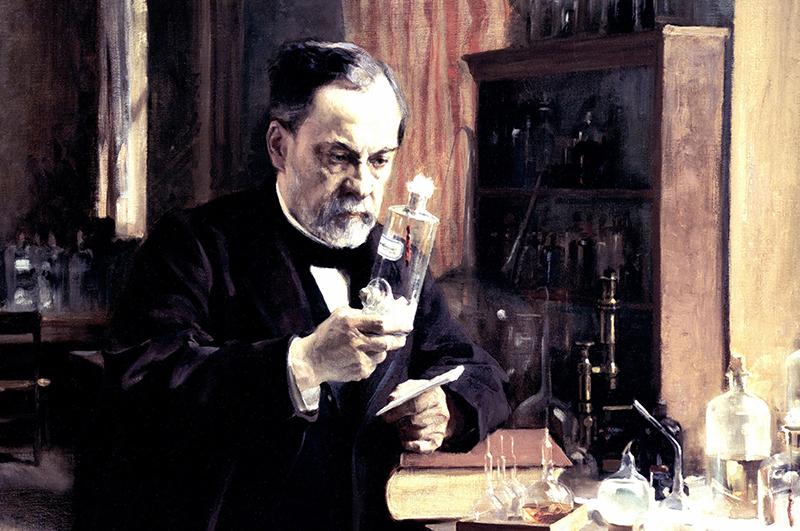 Луи Пастер в своей лаборатории