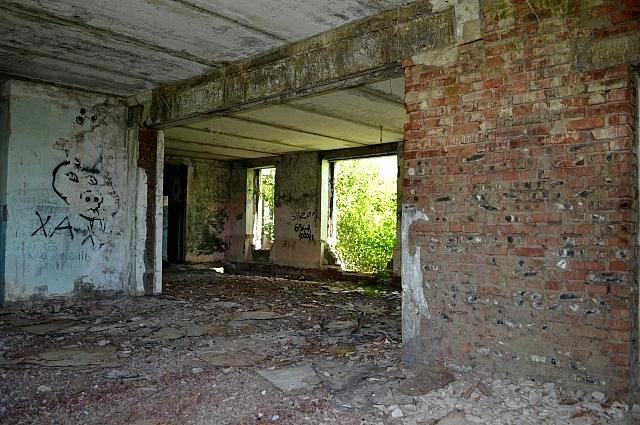 На месте детского садика - руины в замусоренных зарослях бурьяна.